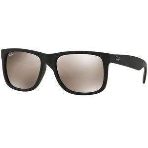 Ray-Ban Sunglasses Black Rubber w/Gold Lens